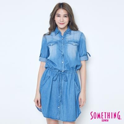 SOMETHING-天絲-腰抽繩七分袖牛仔襯衫-女-漂淺藍