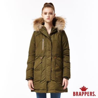 BRAPPERS 女款 休閒長版羽絨外套-軍綠