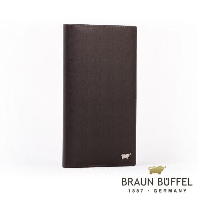BRAUN BUFFEL - HOMME-M紳士系列極光紋17卡零錢長夾 - 咖啡