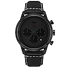 TYLOR 風尚三眼計時皮革手錶-黑/43mm