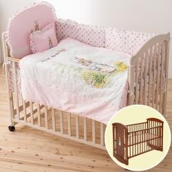 奇哥 比得兔中床+花園比得兔六件床組M-粉紅