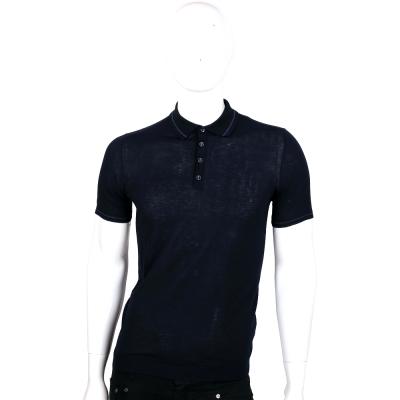 TRUSSARDI 黑藍色短袖針織POLO衫