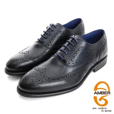 【AMBER】尊榮時尚 葡萄牙進口雕花真皮紳士鞋皮鞋(男)-黑色