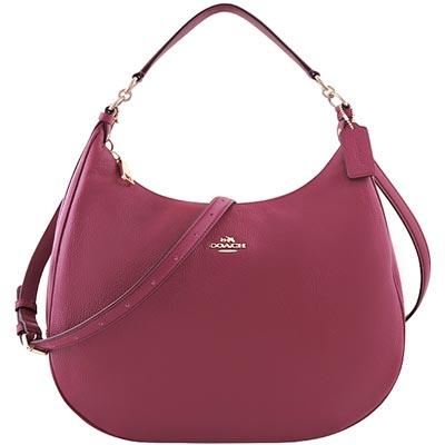 COACH-紫紅色馬車皮革壓紋斜背-側肩包