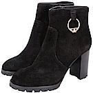 TORY BURCH Sofia Lug Sole T飾金屬環麂皮粗跟短靴(黑色)
