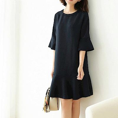 La Belleza圓領荷葉袖五分袖魚尾裙擺棉質洋裝