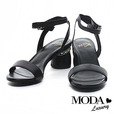 涼鞋 MODA Luxury 優雅低調鑲嵌珍珠羊皮繫帶低跟涼鞋-黑