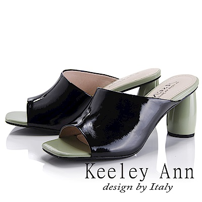 Keeley Ann 漆皮質感~斜面風圓柱跟拖鞋(黑色-Asin系列)