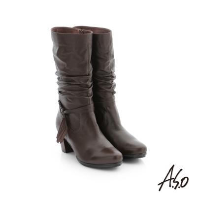 A.S.O 心機美靴 牛皮街頭風中筒靴 深咖啡色