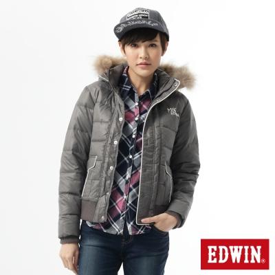 EDWIN優雅出芽配色連帽外套-女款-暗灰色