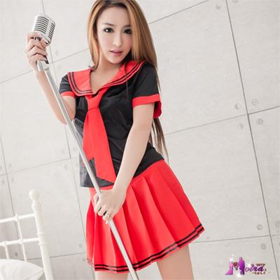 Moira 黑衫紅裙三件式學生角色扮演服