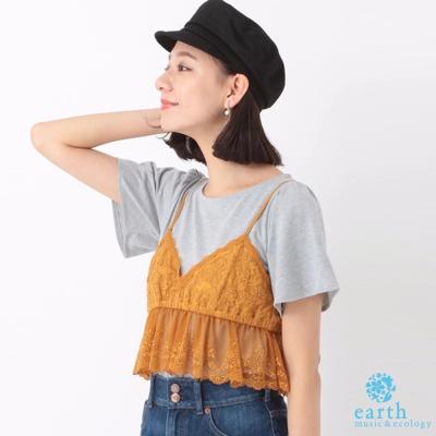 earth music SET ITEM 吊帶蕾絲背心+素面短袖上衣