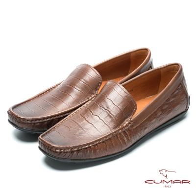 CUMAR 雅痞時尚 鱷魚壓紋帆船鞋-棕色