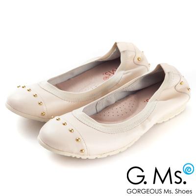 G.Ms. 氣質金色鉚釘全真皮微坡跟娃娃鞋-率性米