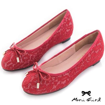 Mori girl 心機內增高蕾絲亮片娃娃鞋 紅