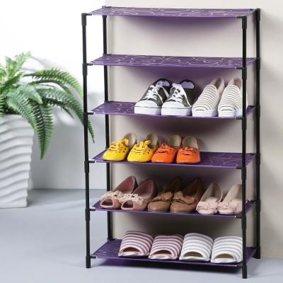 普普風輕巧六層鞋架-58x28x90cm