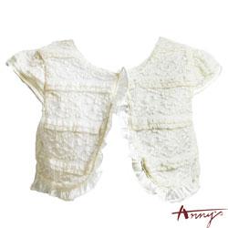 華麗蕾絲荷葉邊短袖外套*4186米白