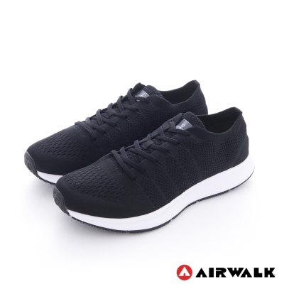 AIRWALK(男) - 親膚一夏 棉質編織網紋透氣襪感運動鞋 - 黑