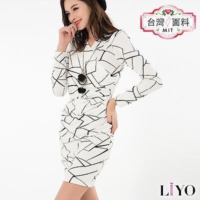 LIYO理優MIT幾何修身洋裝S-XL