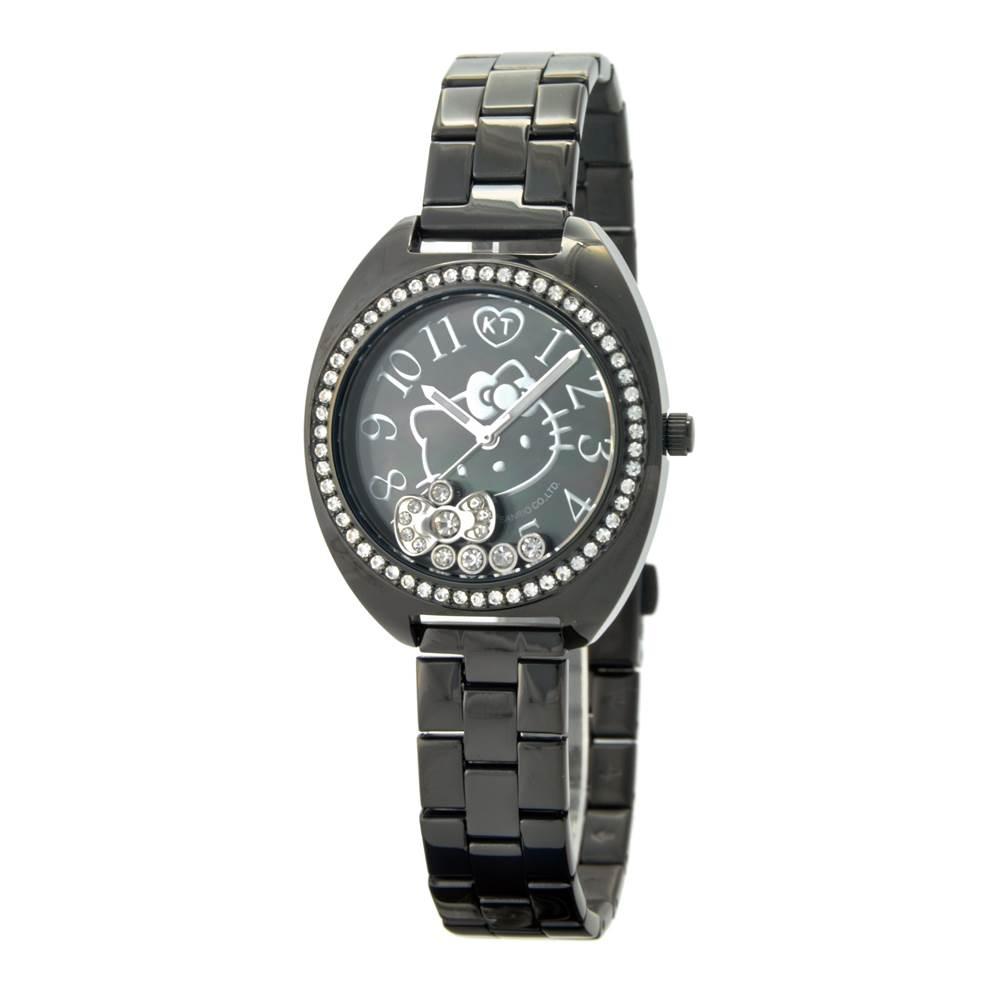 HELLO KITTY凱蒂貓晶鑽時尚優質腕錶 黑