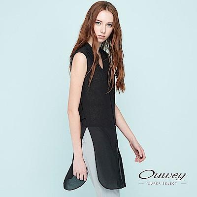 OUWEY歐薇 簡約雪紡兩件式上衣(黑)