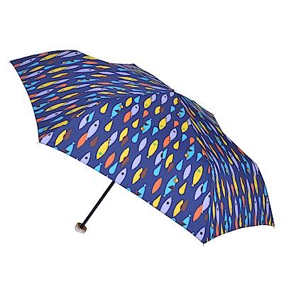 2mm 繽紛魚點 晴雨兩用輕量手開傘 (藍色)