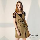 OUWEY歐薇 雙排扣剪裁設計條紋吊帶洋裝(可)