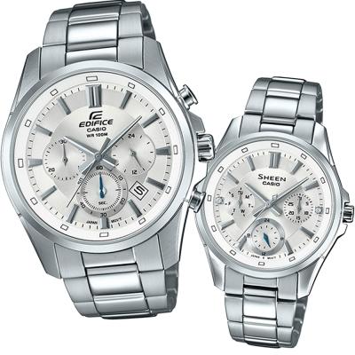 CASIO真摯心意簡約新時尚計時對錶-白面X銀43.7mm