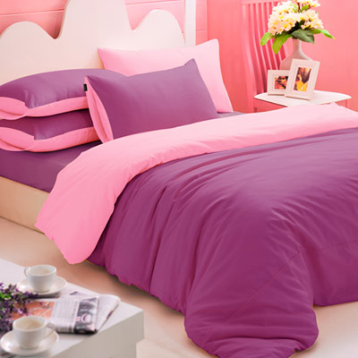 英國Abelia 繽紛混搭 加大四件式天使絨被套床包組-紫*粉