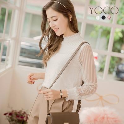東京著衣-yoco 法式輕甜多色小立領全蕾絲上衣-S.M.L(共三色)