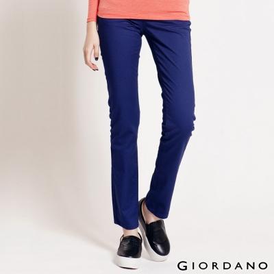 GIORDANO女裝中腰標準窄管休閒褲-65紫藍