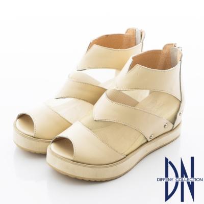 DN 歐美風潮 全真皮性感露趾輕量厚底涼鞋-米