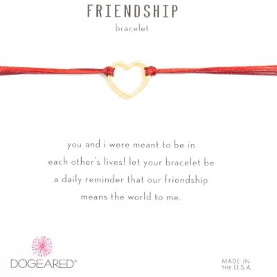 Dogeared Friendship 金色愛心手鍊 經典墜 紅X紫 防水繩衝浪手鍊