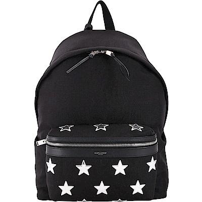 YSL Saint Laurent CITY 星型補丁貼黑色帆布後背包