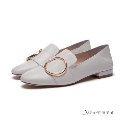 達芙妮DAPHNE-平底鞋-圓環寬帶踩腳兩用懶人鞋-米白
