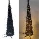 6尺(180cm)彈簧摺疊黑色哈利葉瘦型鉛筆樹聖誕樹(+LED100燈暖白光) product thumbnail 1