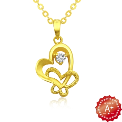 A+黃金 晶鑽戀蝶 9999純金項鍊
