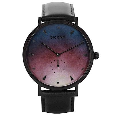 PICONO A week 系列 渲染簡約黑色真皮錶帶手錶 / AW-7604
