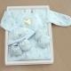 GMP BABY台灣製粉彩夾棉兩用兔裝 藍 彌月禮盒1組 product thumbnail 1