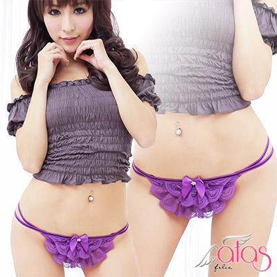 丁字褲 甜美療癒蕾絲丁褲 (紫色) alas