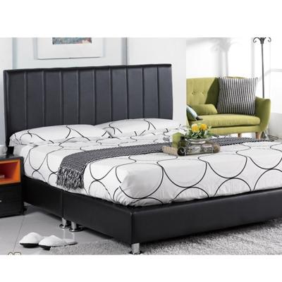 AT HOME-莉莎5尺黑皮直條雙人床組-三件組(床頭片+床底+床墊)