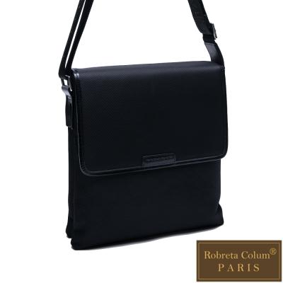 Roberta Colum - 現代雅痞休閒配真皮掀蓋雙袋側背包-共<b>2</b>色