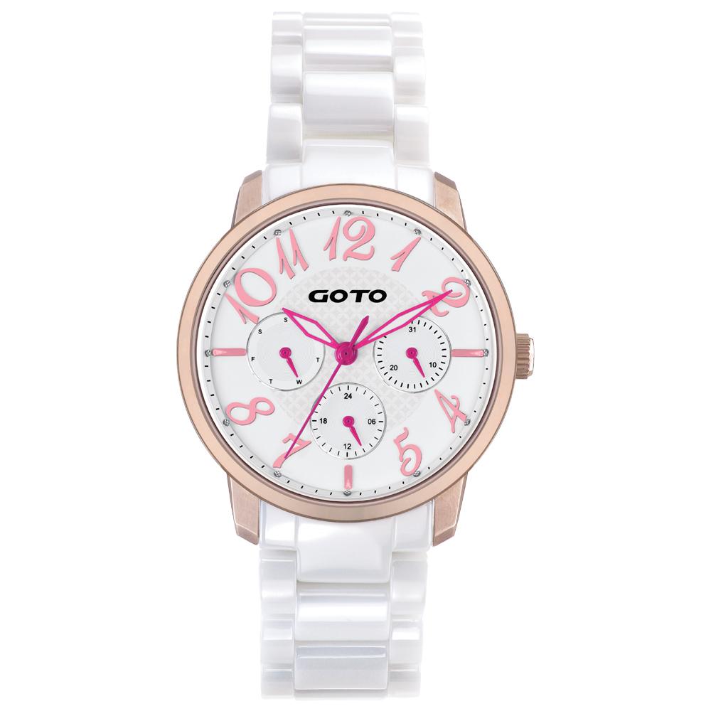GOTO SC浪漫情人陶瓷時尚手錶-IP玫x桃色指針/39mm