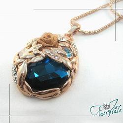 伊飾晶漾iSCrystal 鏤空水晶 稻穗毛衣長鍊 藍