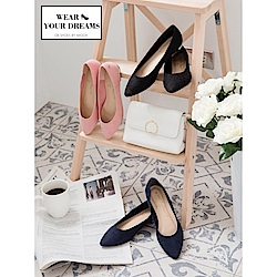 仿麂皮純色尖頭平底鞋-OB大尺碼
