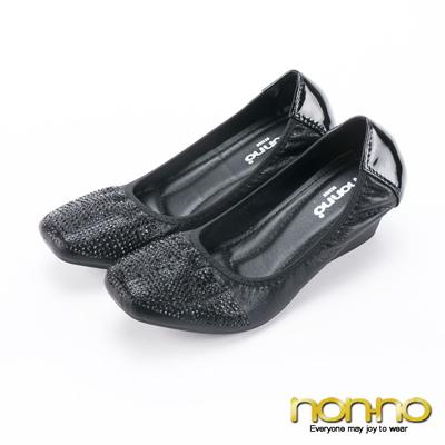 nonno 亮彩方頭小水鑽楔型鞋-黑