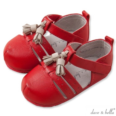 Dave Bella 紅色包頭羅馬嬰兒鞋學步鞋
