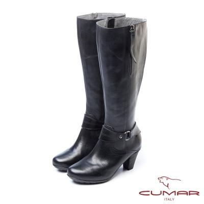 CUMAR小可愛俏皮皮環吊飾粗跟長靴-黑
