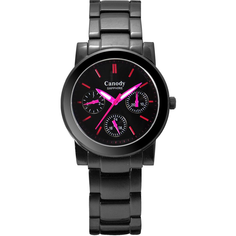 Canody 甜蜜約定三眼日曆時尚腕錶-IP黑x桃紅時標/34mm
