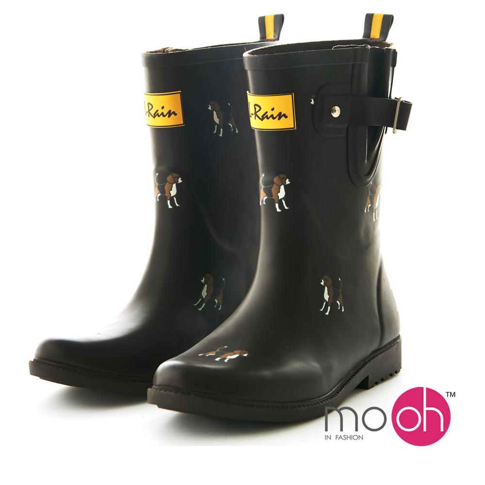 mo.oh 愛雨天-拚色搭扣時尚小狗中筒雨鞋-棕色